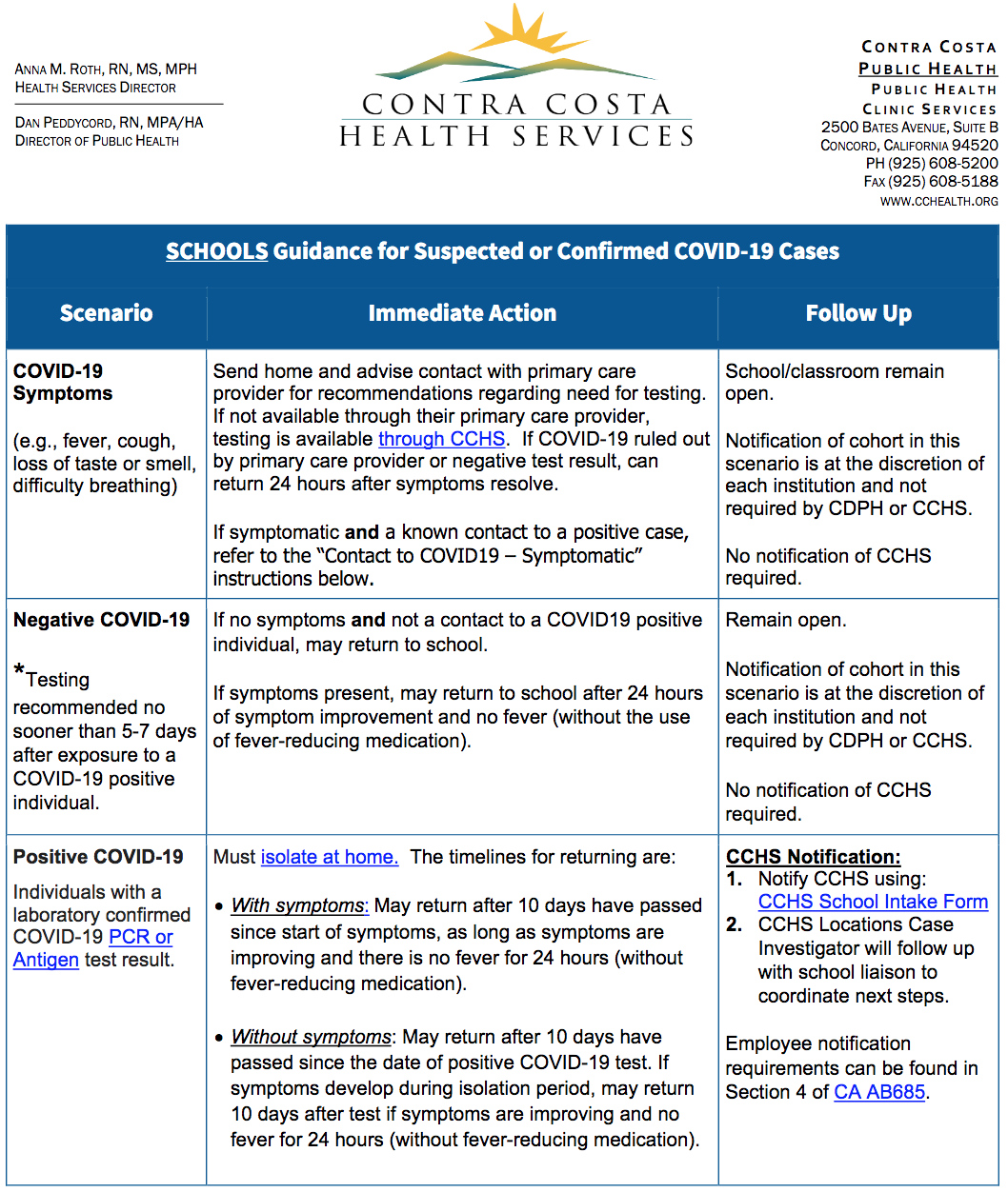 Schools Guidance for Suspected or Confirmed COVID-19 Cases